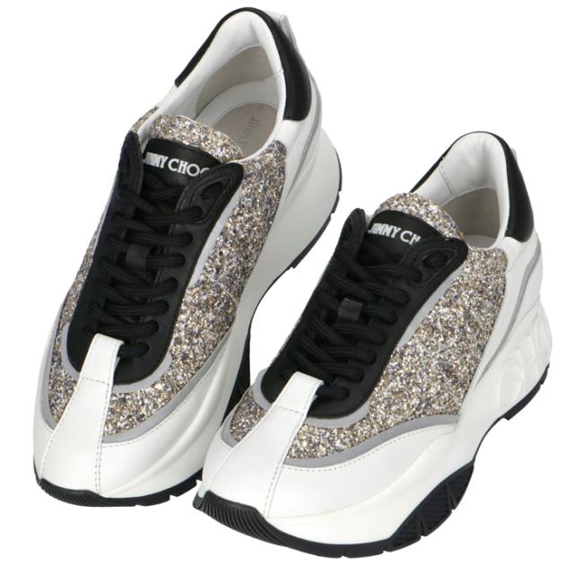 ジミーチュウ JIMMY CHOO RAINE グリッター カーフレザー スニーカー シューズ 靴 プラチナムミックス RAINE FIC 0214