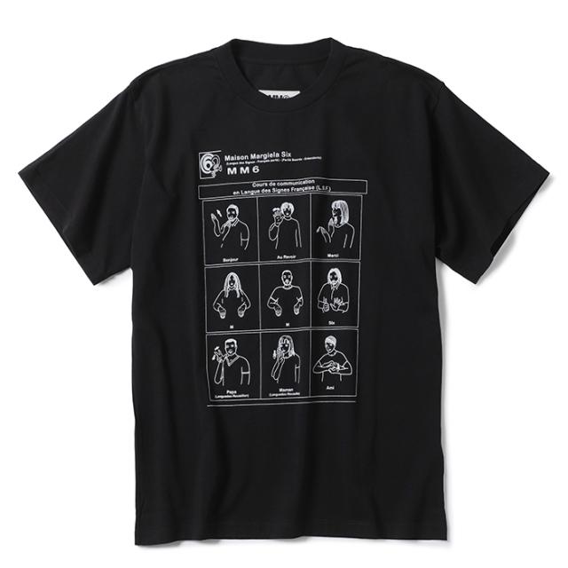 エム エム シックス メゾン マルジェラ MM6 MAISON MARGIELA 2021年秋冬新作 Tシャツ Sign language ブラック S52GC0213 S23962 900