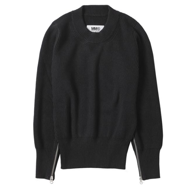 エム エム シックス メゾン マルジェラ MM6 MAISON MARGIELA 2021年秋冬新作 セーター ジッパー付き ニット ブラック S52HA0227 S17765 900