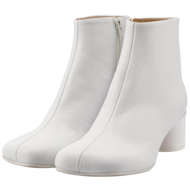 エム エム シックス メゾン マルジェラ MM6 MAISON MARGIELA 2021年秋冬新作 ブーツ 6 ロゴ ヒール シューズ 靴 レディース ホワイト S59WU0173 PR331 T1003