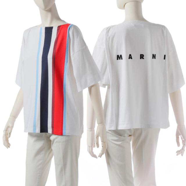 マルニ MARNI 2019年秋冬新作 ロゴ ストライプ Tシャツ 38サイズ (S)  Tシャツ カットソー THJE0012PC SCQ21 STR93