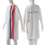 マルニ MARNI 2019年秋冬新作 ロゴ ストライプ Tシャツ 38サイズ (S) シャツワンピース  Tシャツ カットソー ABJE0355PC SCQ21 STR93