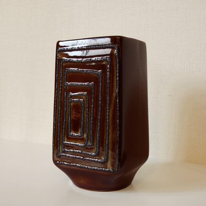 ドイツ製ビンテージ花瓶 茶色