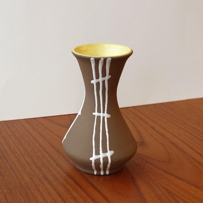 ビンテージ陶器フラワーベース茶色x白ライン