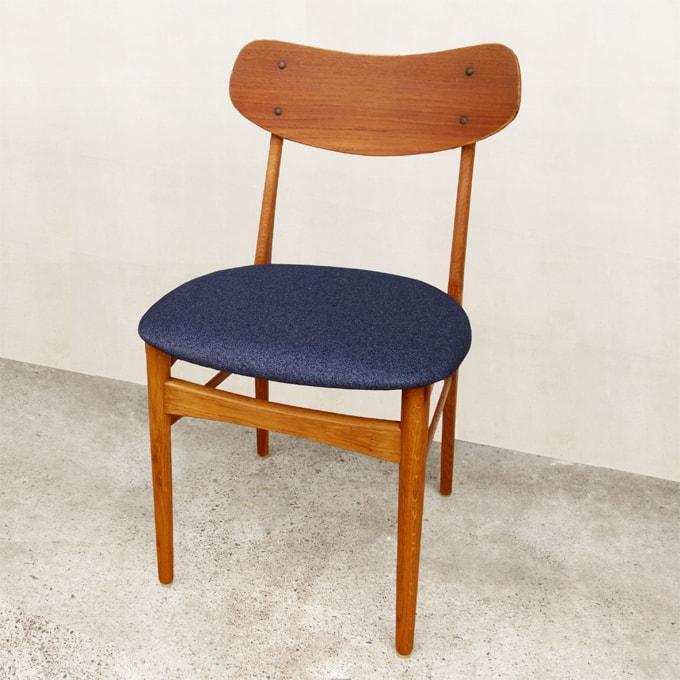 ビンテージ椅子 ネイビーブルー座面