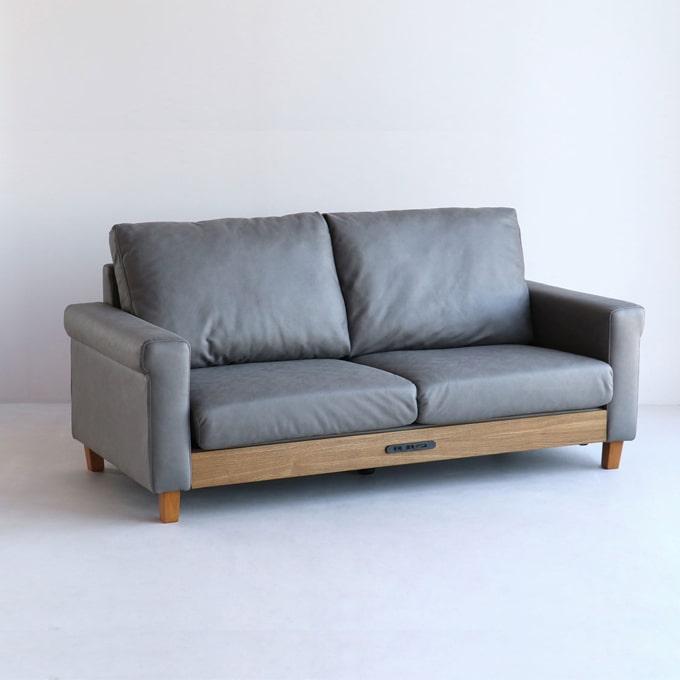 グレーのレザー調2人掛けソファ