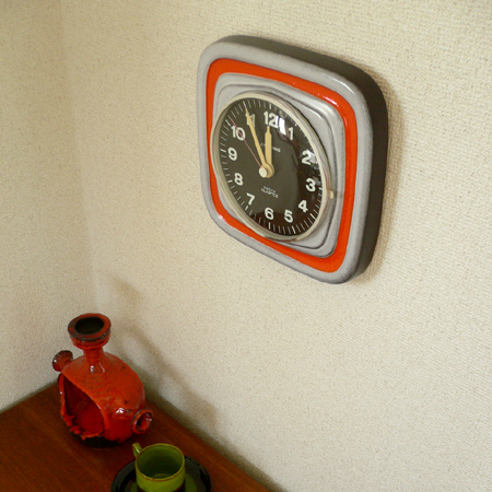 ac0146 ドイツJUNGHANS製陶器の掛け時計*amber design*北欧家具やビンテージ雑貨等のインテリア通販