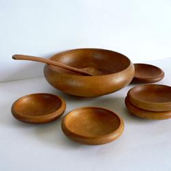 ac0153レトロな木製スナックトレーセット*amber design*北欧家具やビンテージ雑貨等のインテリア通販