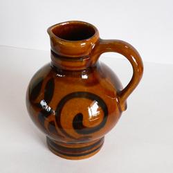 ac0192茶色い陶器のピッチャー*amber design*北欧家具やビンテージ雑貨等のインテリア通販