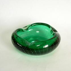 ac0222MURANOガラス灰皿グリーン*amber design北欧中古家具ビンテージ雑貨等インテリア通販