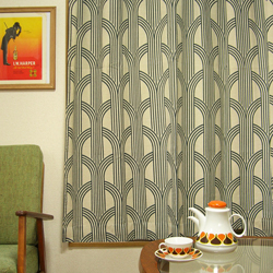ac0230モダーンな柄のカーテン*amber design北欧中古家具ビンテージ雑貨等インテリア通販