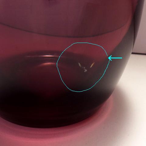 ビンテージ紫ガラスベース 表面