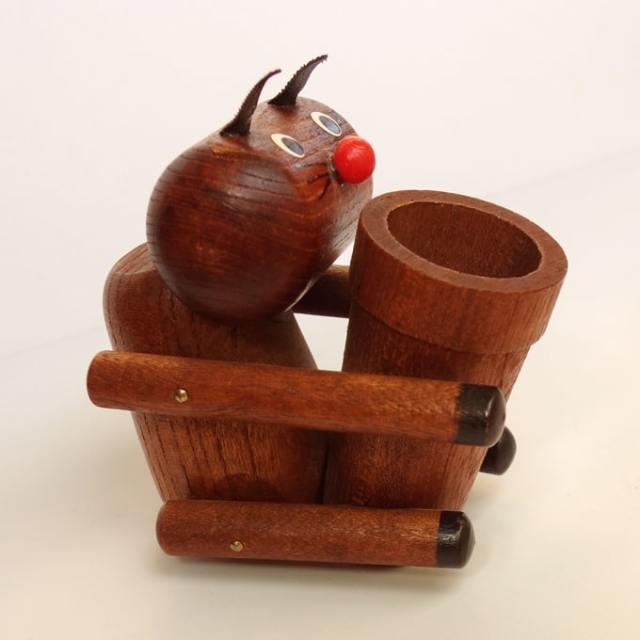 ヴィンテージ木製ペンホルダー 猫