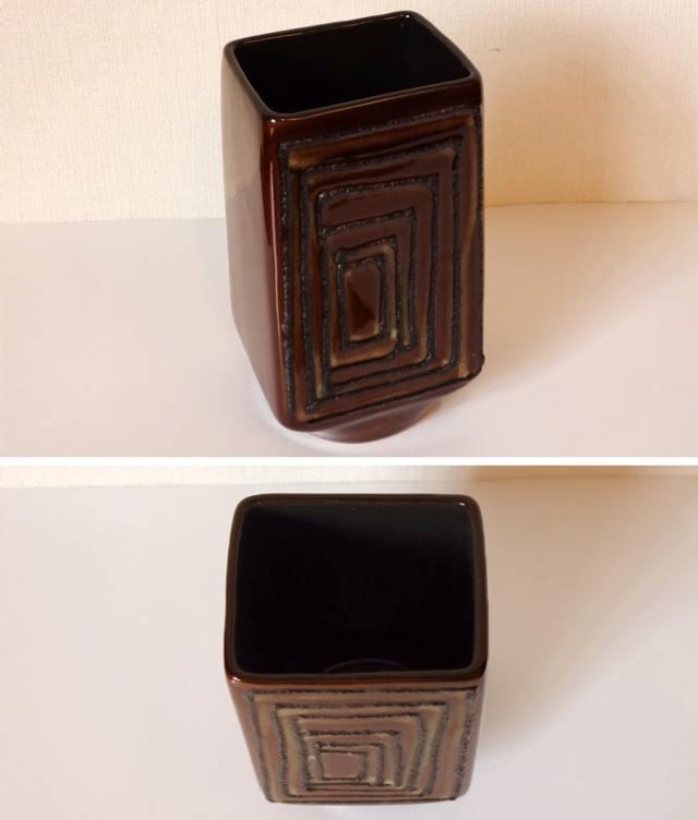 ヴィンテージ陶器フラワーベース ブラウン