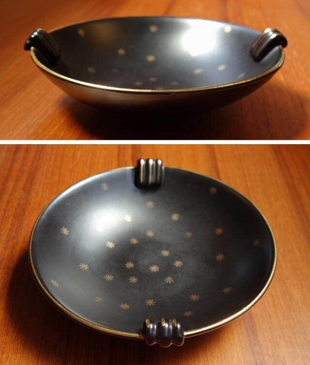 1950年代ヴィンテージ陶器ボウル 黒