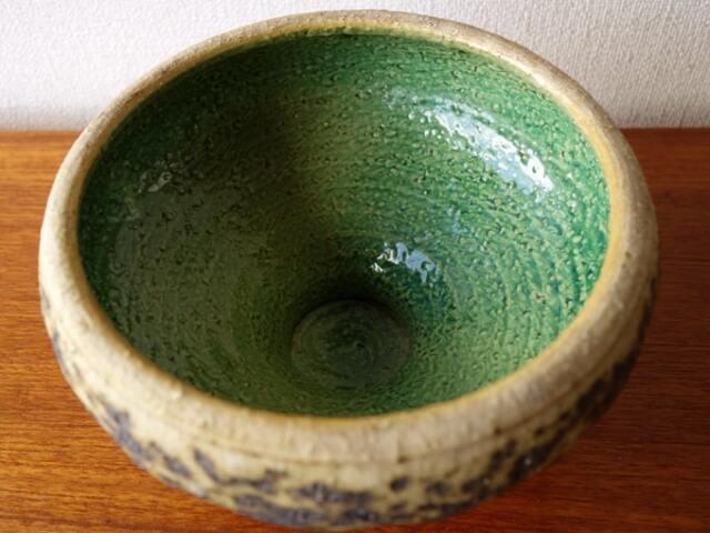 ヴィンテージ花瓶 グリーンとブラウン