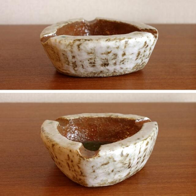ヴィンテージ陶器アッシュトレー 白/グリーン