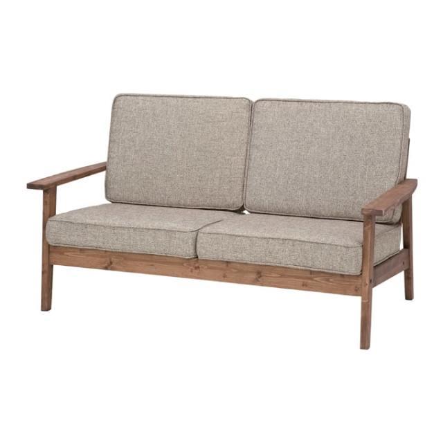 無垢材の木肘2人掛けソファ