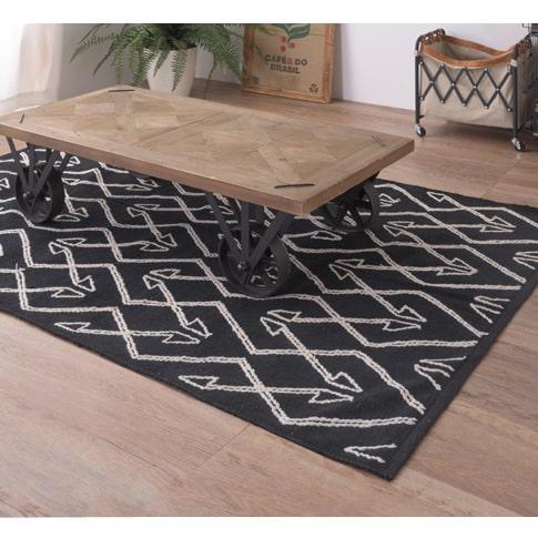 幾何学模様のコットンラグ黒