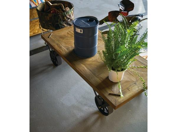 インダストリアル系木製ローテーブル