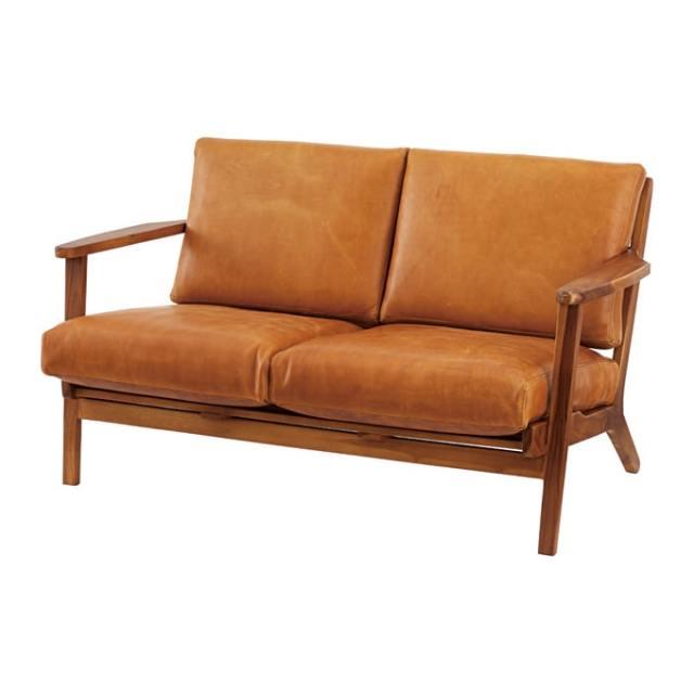 レザー木枠2人掛けソファ