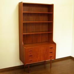 3段ひきだし付きチークブックシェルフ本棚*amber designビンテージ北欧中古家具アンティーク雑貨通販アンバーデザイン