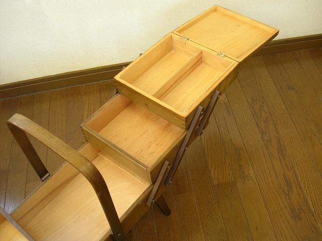 木製ソーイングボックス3段