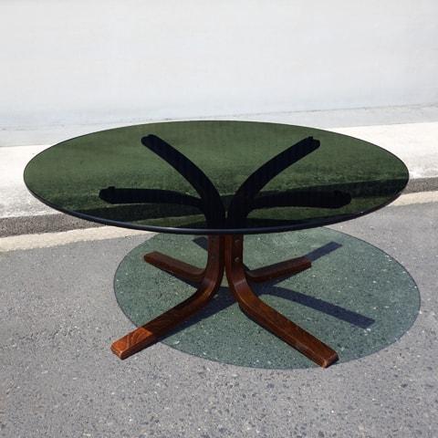 ヴィンテージ 黒ガラステーブル円型