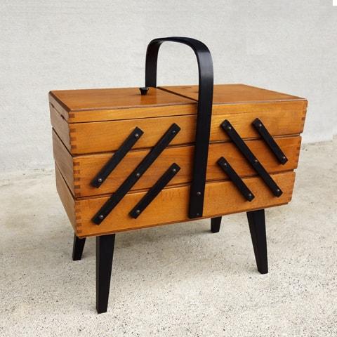 ビンテージ木製ソーイングBOX
