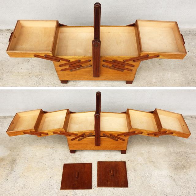 ヴィンテージ木製ソーイングボックス