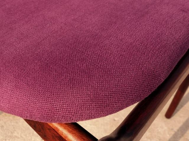 北欧ヴィンテージ椅子座面 紫ファブリック詳細