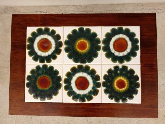 ヴィンテージ花柄タイルテーブル レトロ