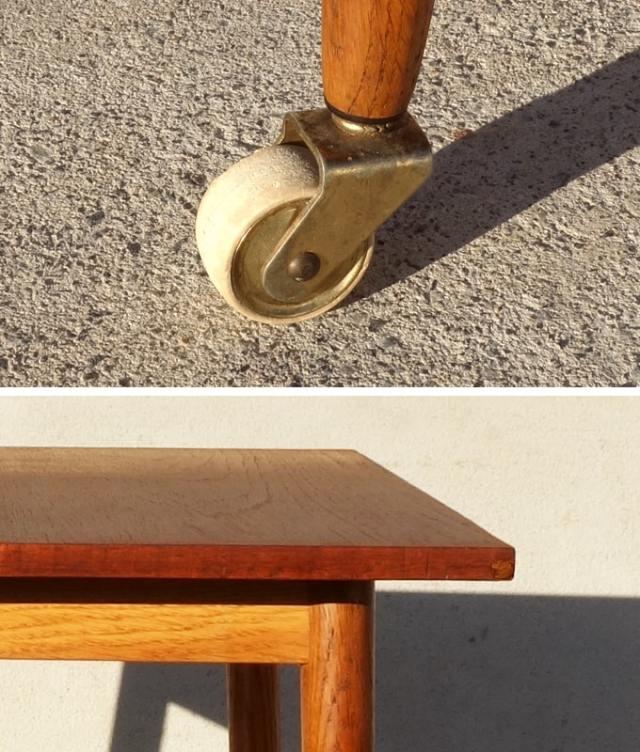 ヴィンテージ木製テーブル キャスター 詳細