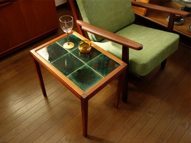 青緑色のタイルテーブル ヴィンテージ家具