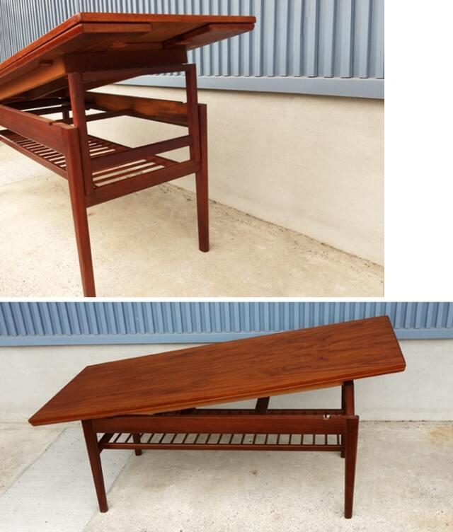 テーブル板を引き上げると高さを変えられます