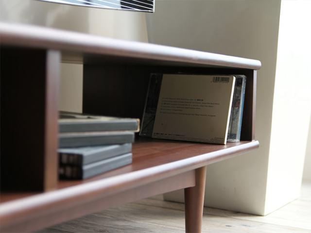 CD収納可 天然木テレビ台