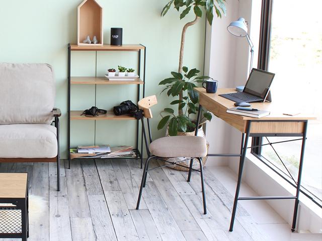 オークと鉄脚の家具 デスク