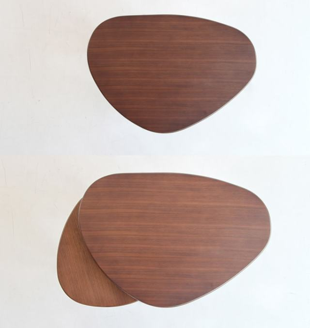 三角形のセンターテーブル ウォルナット