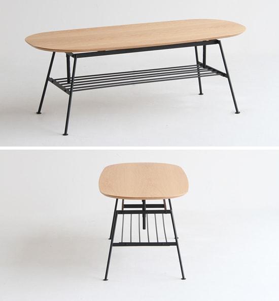 オーク木天板テーブル 鉄脚