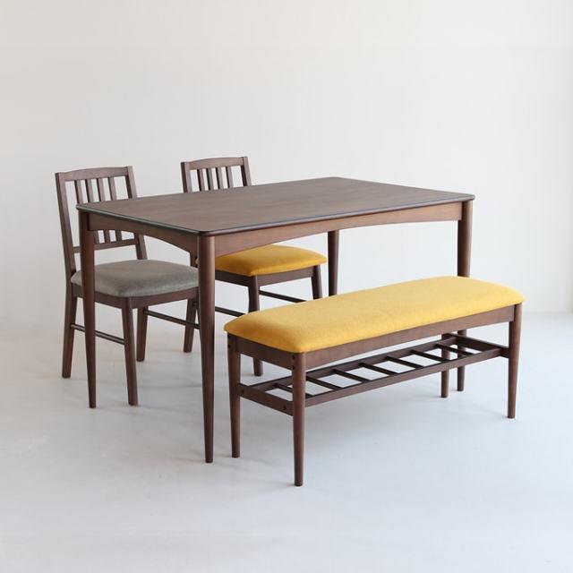ウォルナットのダイニングセット ベンチ&椅子