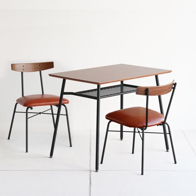 鉄脚ダイニングテーブルと椅子2脚セット