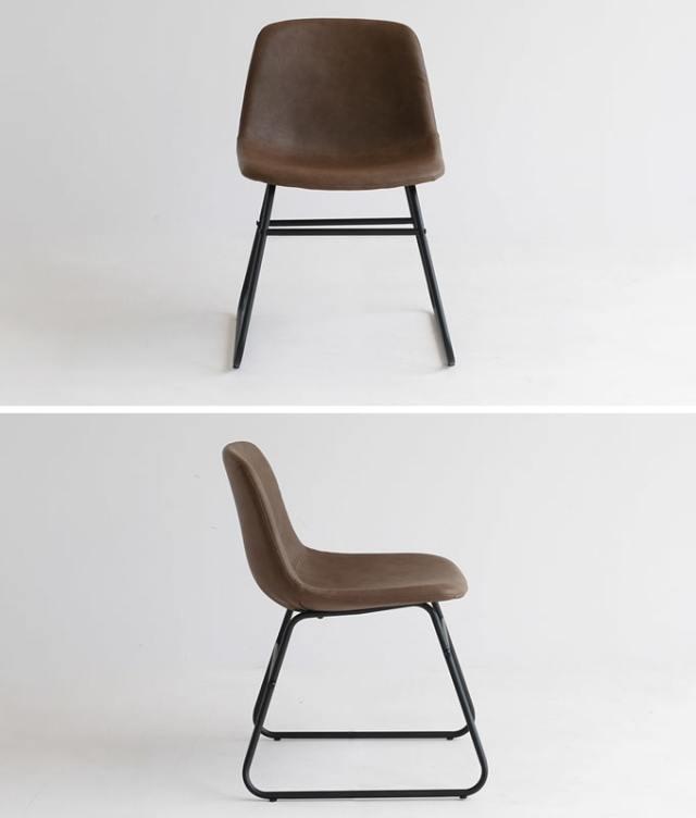 スチール脚の椅子 合皮ブラウン