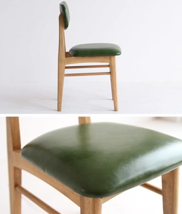 グリーン座面の木製椅子