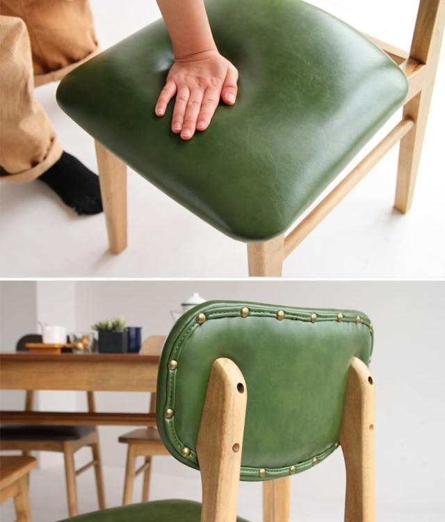 レトロな椅子 グリーンの座面と背面