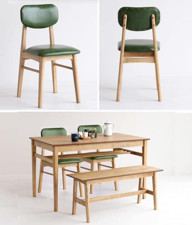 レトロなダイニングセット グリーン椅子