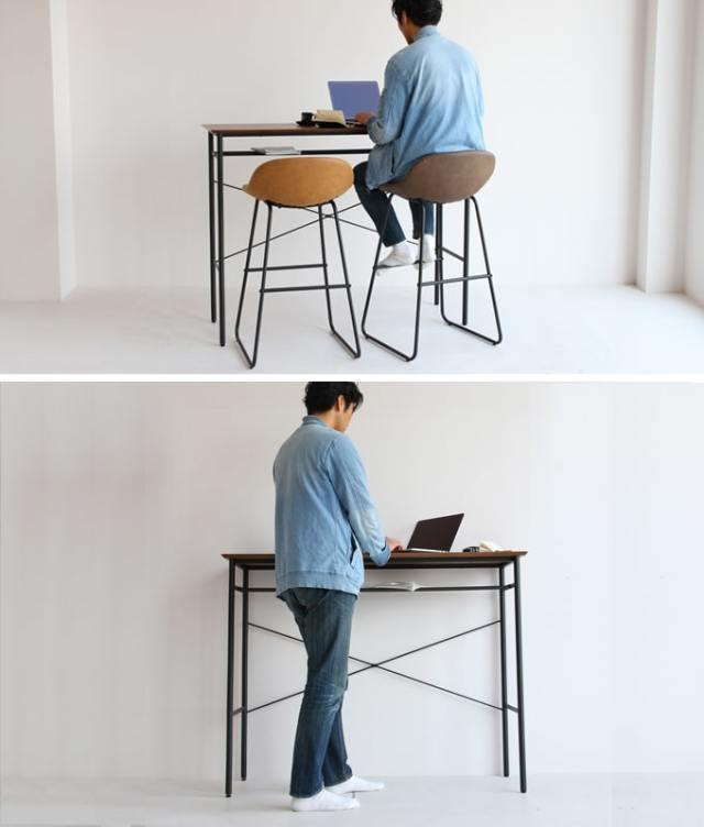 ハイスツールと合わせても立っても使えるテーブル