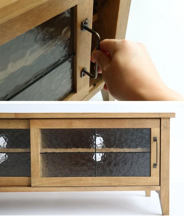 木製テレビ台 レトロなガラス戸