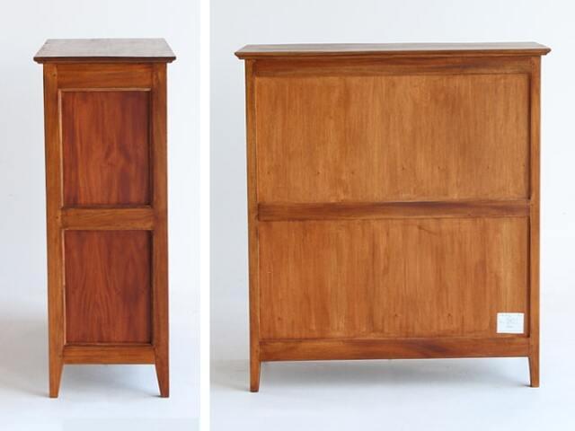 木製4段チェスト 側面と裏面