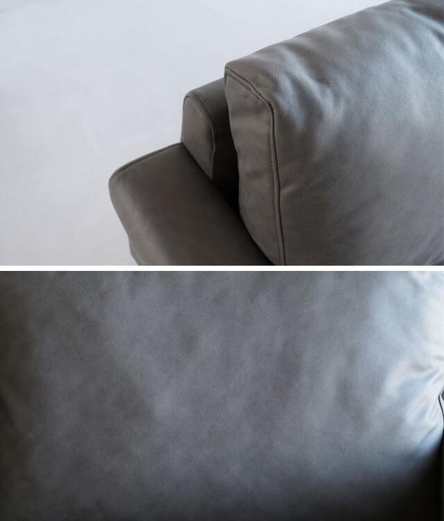レザーのような素材のソファクッション