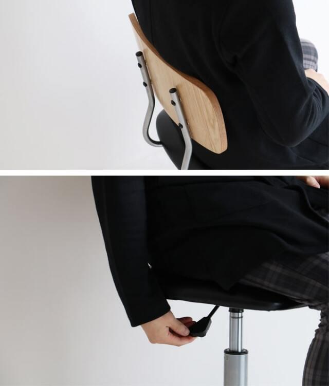 手動の昇降機能付きの椅子